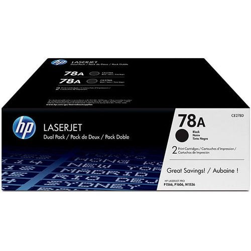 HP 78A , CE278D , OEM LaserJet Toner Cartridges - Black - 2-pack - 2,100 pages