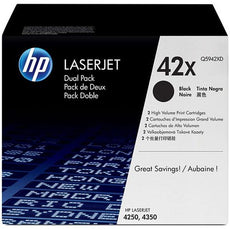 OEM HP 42X, Q5942XD (2 Pack) Toner Cartridges Black High Yield - 40K