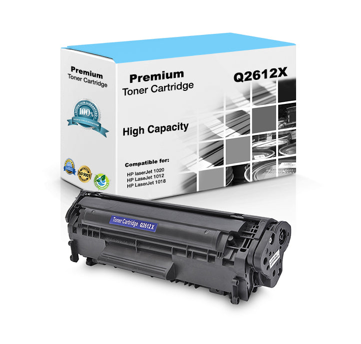 Compatible HP Q2612X, 12X Toner Cartridge - Black - 3.5K