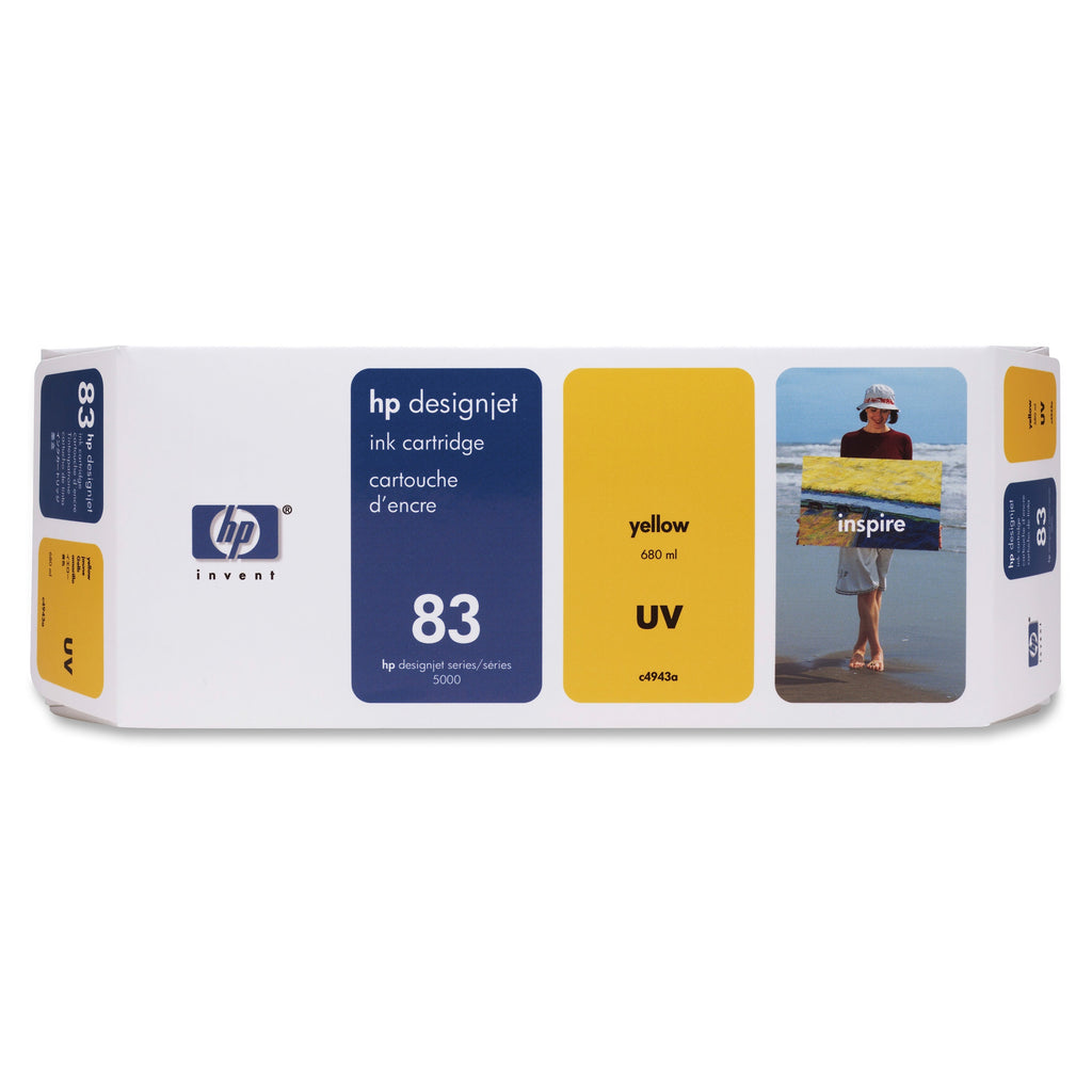 Original HP 83, C4943A DesignJet UV Ink Cartridge - Yellow - 680ml