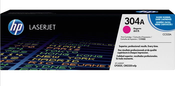 HP CC533A, 304A OEM Toner Cartridge For Color LaserJet CM2320, CP2025 - Magenta - 2.8K