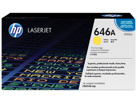 OEM HP CF032A, 646A Laser Toner Cartridge - Yellow - 12.5K