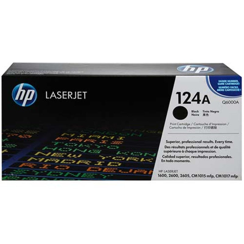 OEM HP Q6000A, 124A Toner Cartridge For Color LaserJet 1600, 2600, 2605 Black - 2.5K