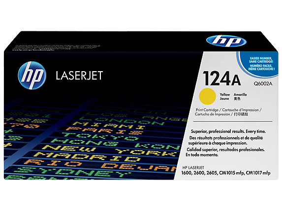 HP Q6002A, 124A OEM Toner Cartridge For Color LaserJet 1600, 2600, 2605 Yellow - 2.5K