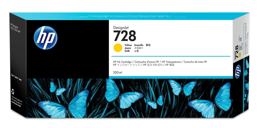 Original HP 728, F9K15A Extra High Yield Inkjet Ink Cartridge - Yellow - 300ml