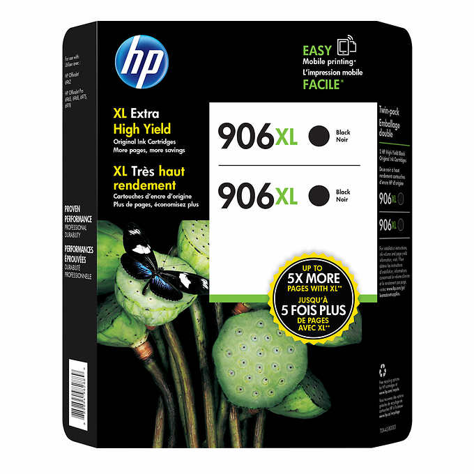 HP 906XL, T0A42BN OEM Ink Cartridge High Yield - Black - 2 Pack