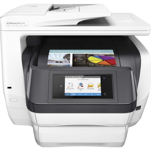 "HP Officejet Pro 8740 Inkjet Multifunction-Color Printer - Copier/Fax/Printer/Scanner - 36 ppm Mono/36 ppm Color Print - 4.3"" Touchscreen"
