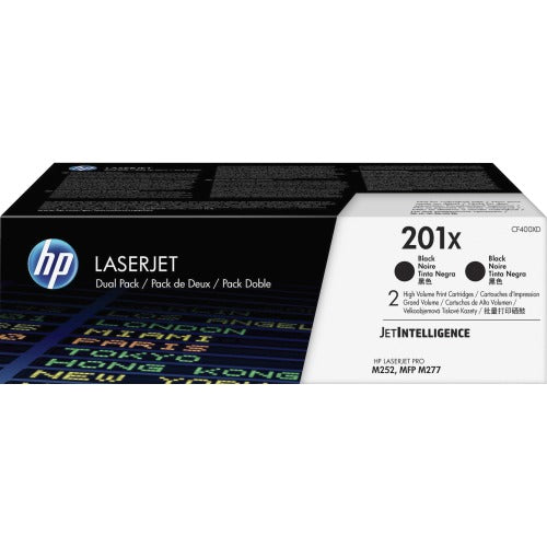 HP 201X, CF400XD 2-Pack Black Original LaserJet Toner Cartridge 2 x 2.8K