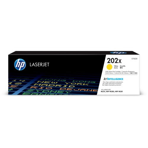 HP CF502X, 202X OEM Toner Cartridge - Yellow - Laser - High Yield - 2500 Pages