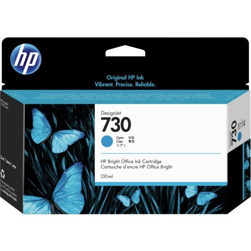 Original HP 730, P2V62A Inkjet Ink Cartridge - Cyan - 130ml