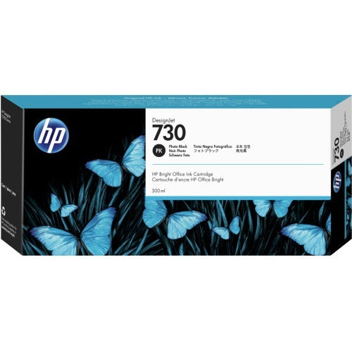 Original HP 730, P2V73A Inkjet Ink Cartridge - Photo Black - 300ml