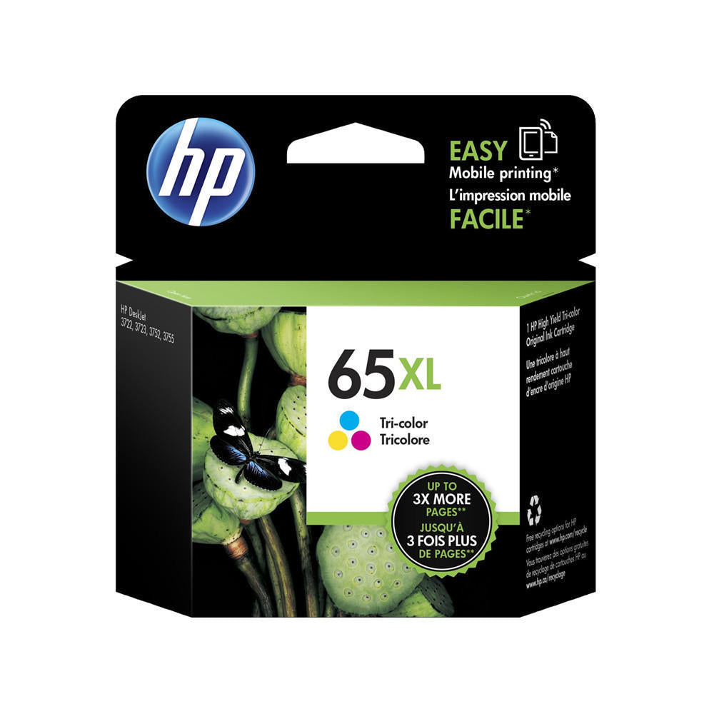 HP 65XL, N9K03AN OEM Ink Cartridge - Tri-Color Cyan/Magenta/Yellow - 300 Pages