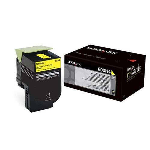 OEM Lexmark 80C0H40 Toner Cartridge High Yield Yellow (3,000 Yield)