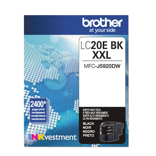 OEM Brother LC20E, LC20EBKS Super High Yield Ink Cartridge - Black - 2.4K