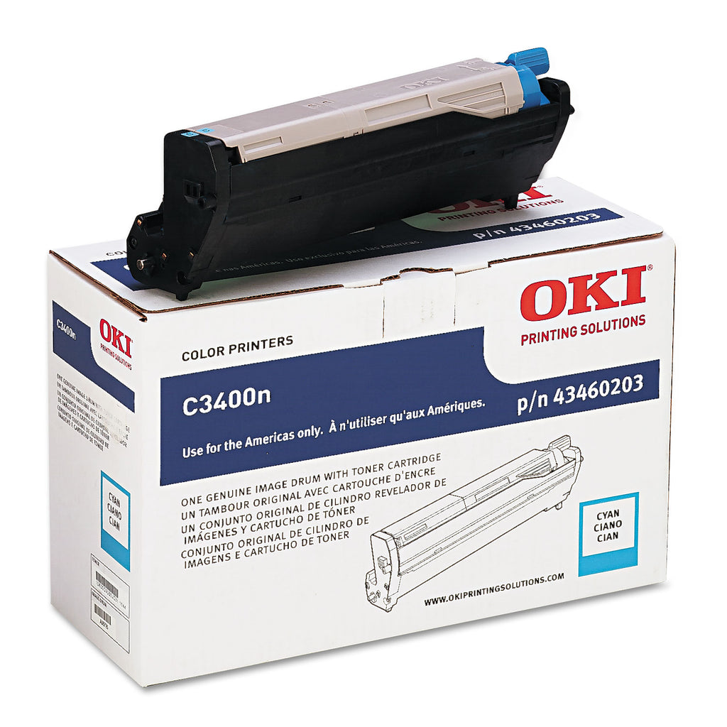 Okidata 43460203 OEM Imaging Drum For C3400 Cyan - 15K (+1K Toner)