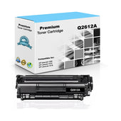 Premium Compatible HP Q2612A, 12A Toner Cartridge, Black - 2.5K