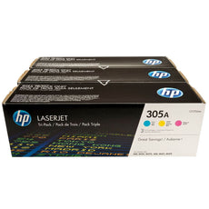 OEM HP 305A, CF370AM 3-Pack Toner Cartridges Cyan, Magenta, Yellow - 2.6K