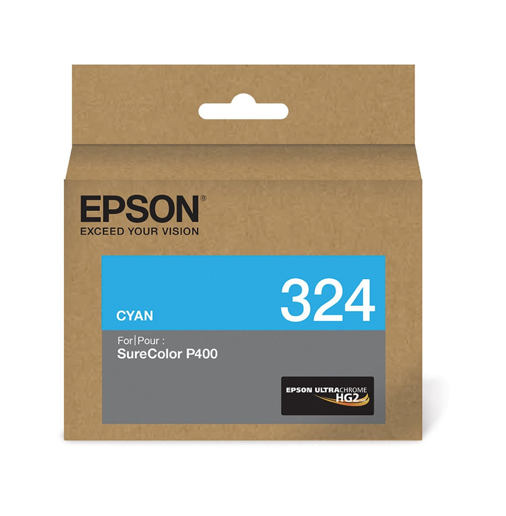 Epson 324, T324220 OEM UltraChrome HG2 Ink Cartridge For SureColor P400 Cyan - 14mL