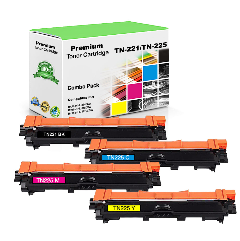 Combo Set Brother TN-221 Toner Cartridges Compatible with TN221BK, TN225C, TN225M, TN225Y