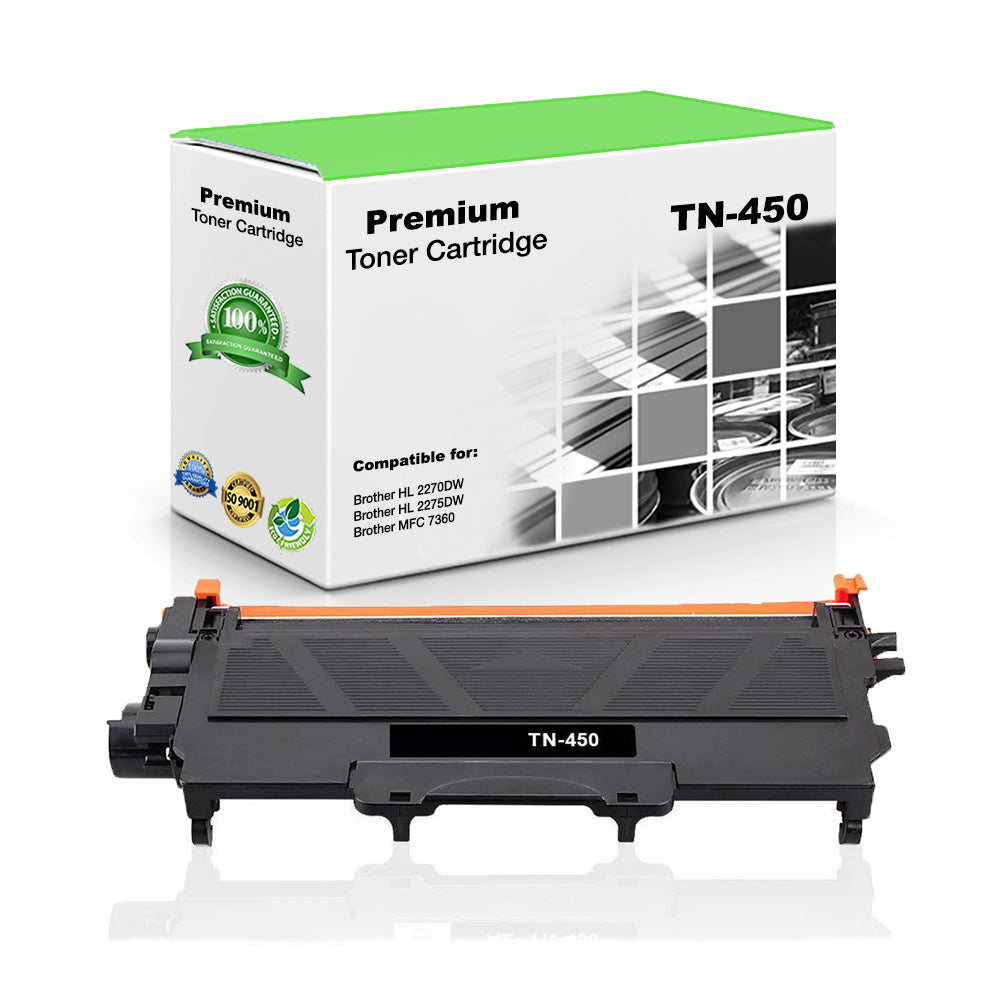 Premium Compatible Brother TN450, TN-450 Toner Cartridge For HL-2240, MFC-7460 Black - 2.6K