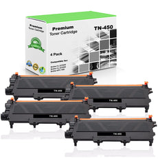 Compatible Brother TN450, TN-450 Toner Cartridge - Black - 2.6K (4 Pack)