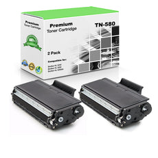 Compatible Brother TN580, TN-580 Toner Cartridge - Black (2 Pack) 7K