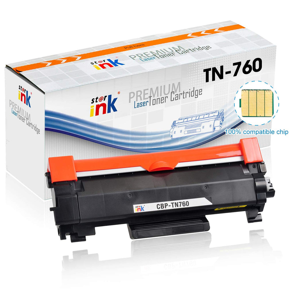 StarInk Compatible Brother TN760 Toner Cartridge, Black (with chip) 3K