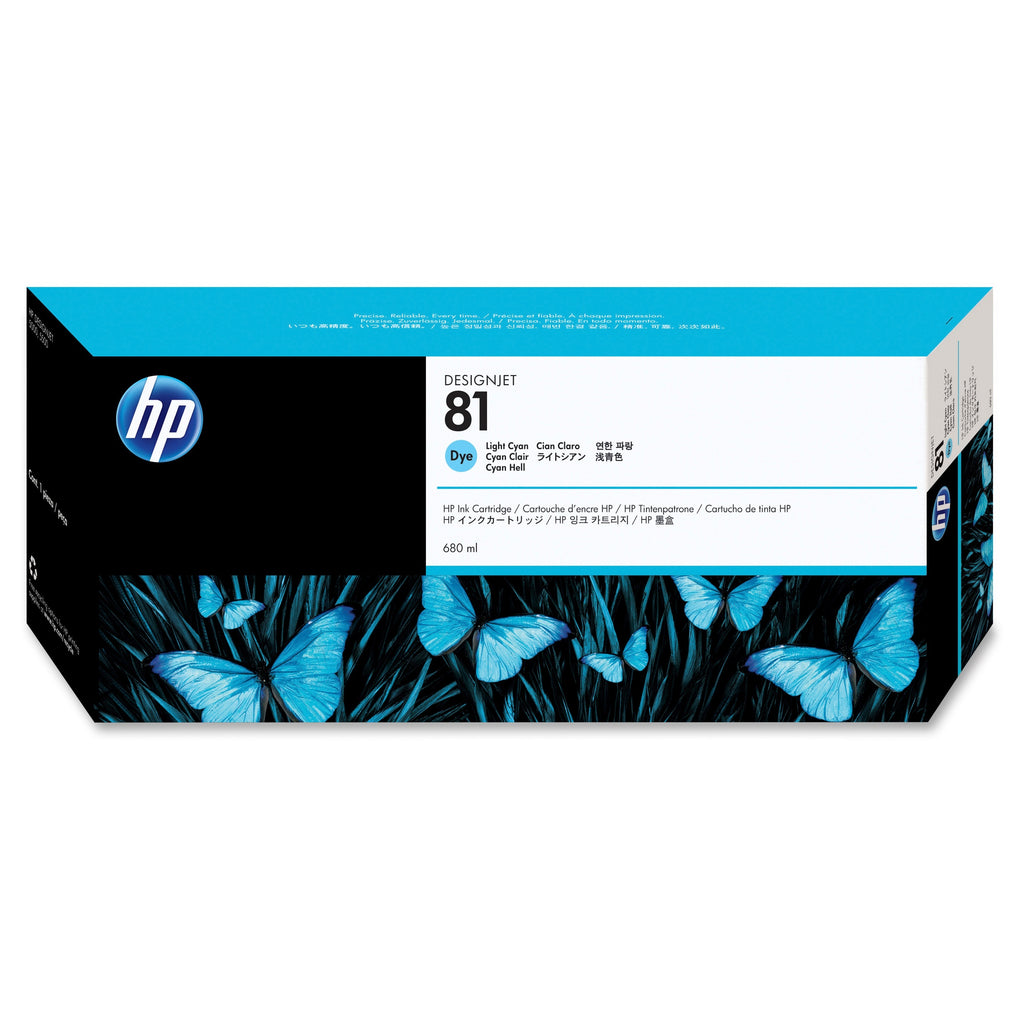 Original HP 81, C4934A DesignJet Dye Ink Cartridge - Light Cyan - 680ml