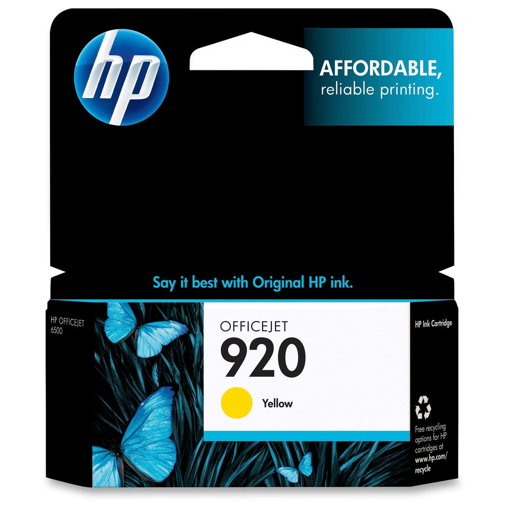 Original HP 920, CH636AN Ink Cartridge Standard Yield - Yellow - 300 Pages