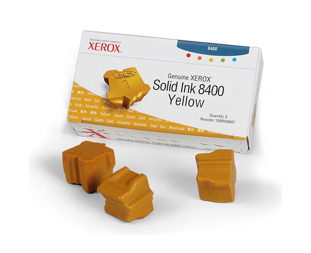 OEM Xerox 108R00607 Solid Ink For Phaser 8400 Yellow (3Pk) - 3.4K