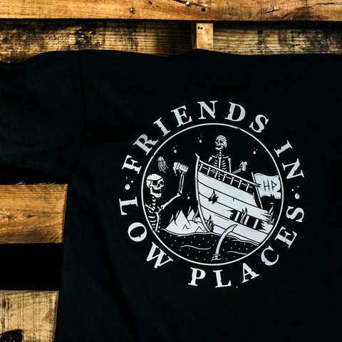 haggard pirate friends in low places black t-shirt on pallet