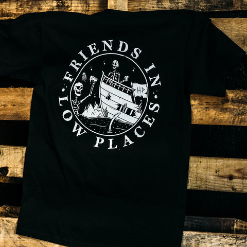 haggard pirate friends in low places black t-shirt on pallet full view back