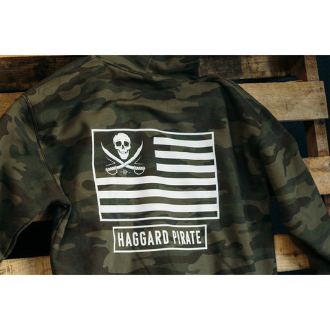 haggard pirate camo hoodie american pirate on pallet close up