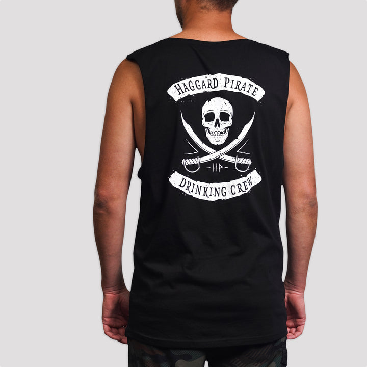 DRINKING CREW SHIELD MUSCLE TEE - BLACK STONE