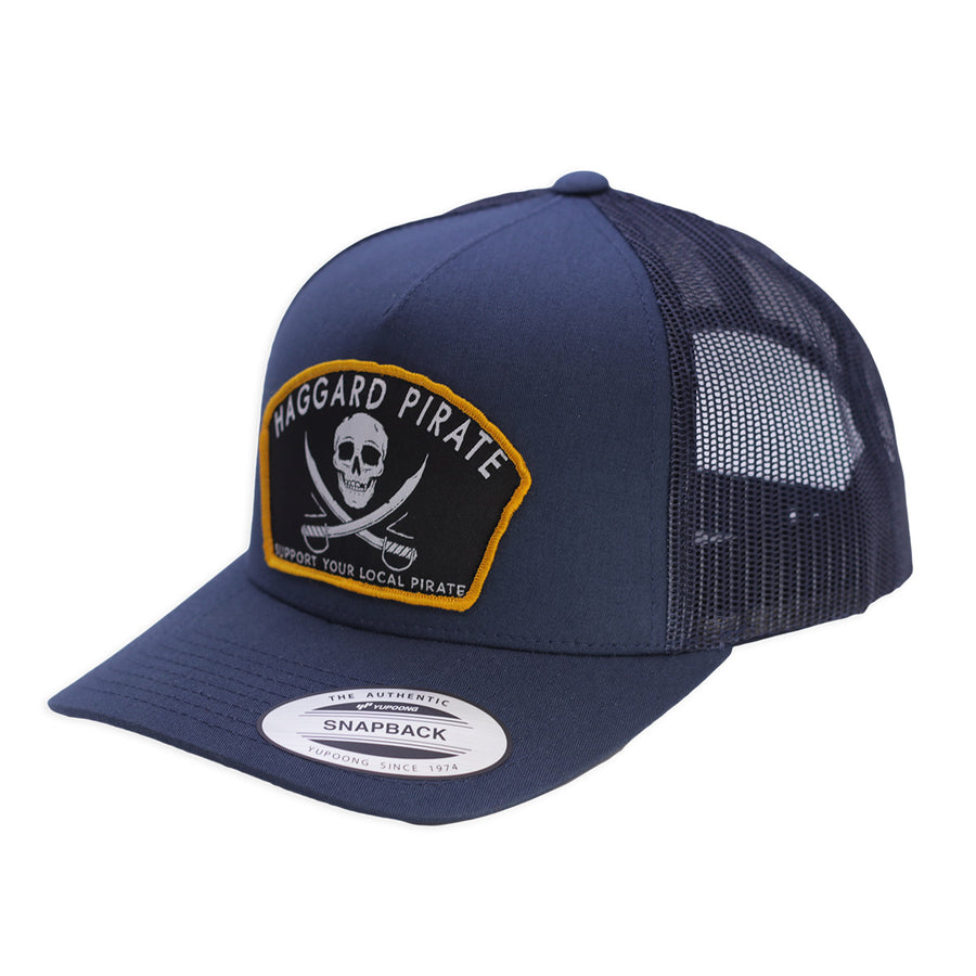 JOLLY ROGER RETRO TRUCKER HAT - NAVY