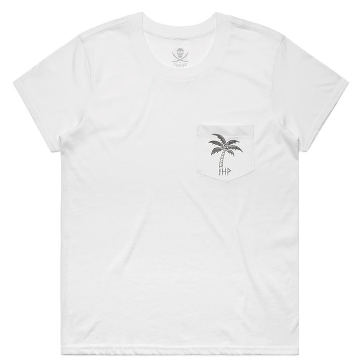 SKULL ISLAND WOMEN'S POCKET TEE - WHITE