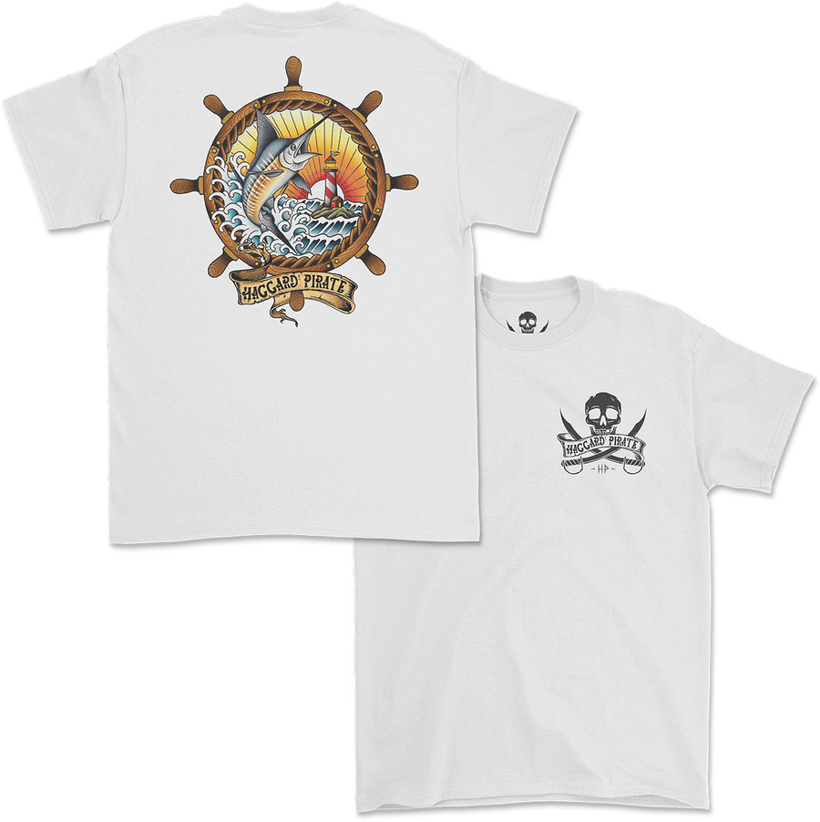 Haggard Pirate Ships Wheel design Captains Collection online exclusive front and back of shirt