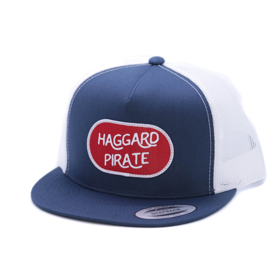 PATCHED TRUCKER - NAVY/WHT HAGGARD PIRATE HAT