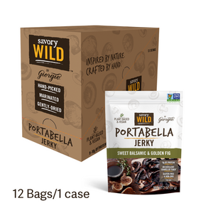 Sweet Balsamic & Golden Fig Portabella Jerky, 12 Bags/1 Case - Giorgio Foods
