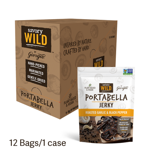 Roasted Garlic & Black Pepper Portabella Jerky, 12 Bags/1 Case. - Giorgio Foods