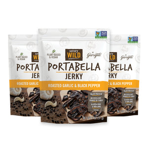 Savory Wild Vegan Portabella Jerky - Roasted Garlic & Black Pepper - 3 Pack