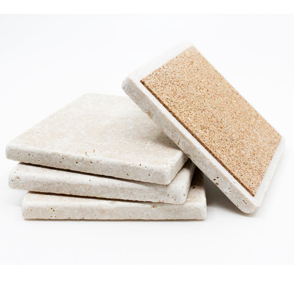 Set of Absorbent Travertine Drink Coasters