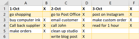 Excel list of business goals