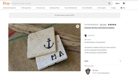 finding etsy sold listings