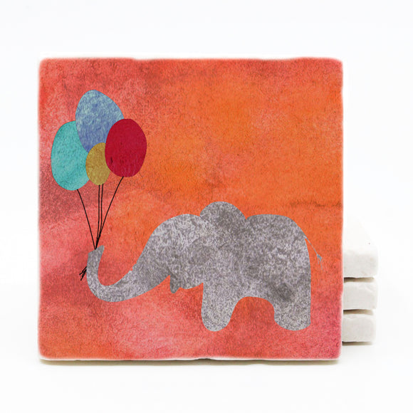 Elephant with Balloons Watercolor Marble Drink Coaster