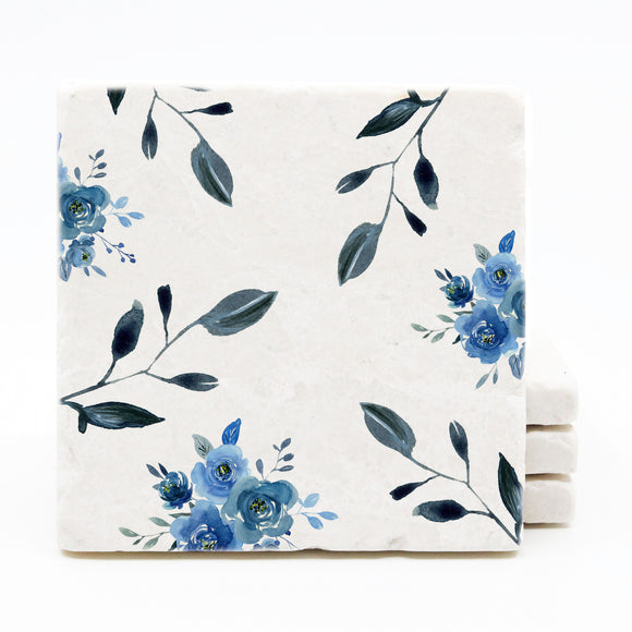 Blue Floral Pattern Drink Coasters - Floral Spring Wedding Decor