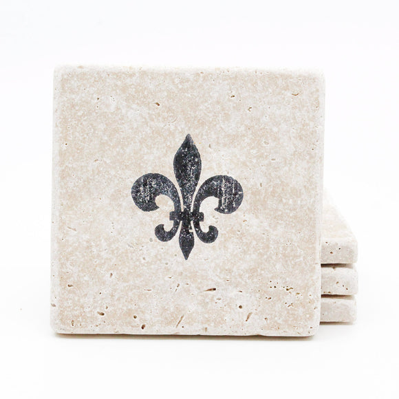 Fleur de Lis Travertine Drink Coasters