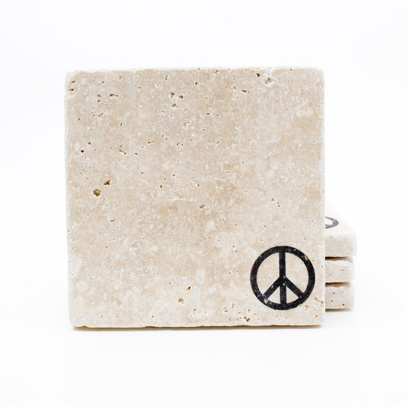 Peace Sign Travertine Drink Coasters