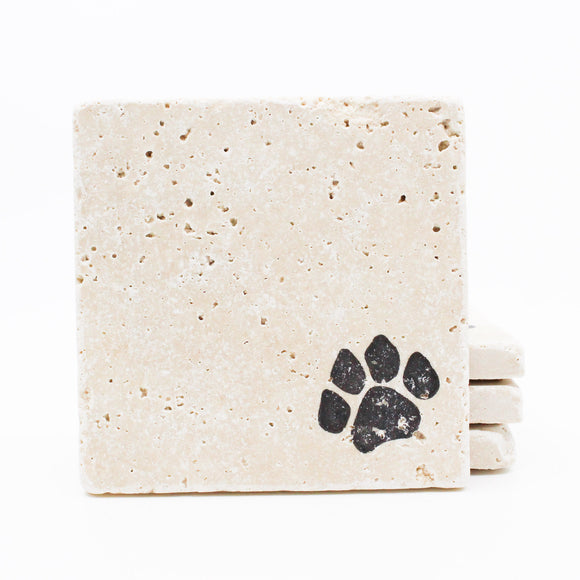 Dog Print Travertine Drink Coasters