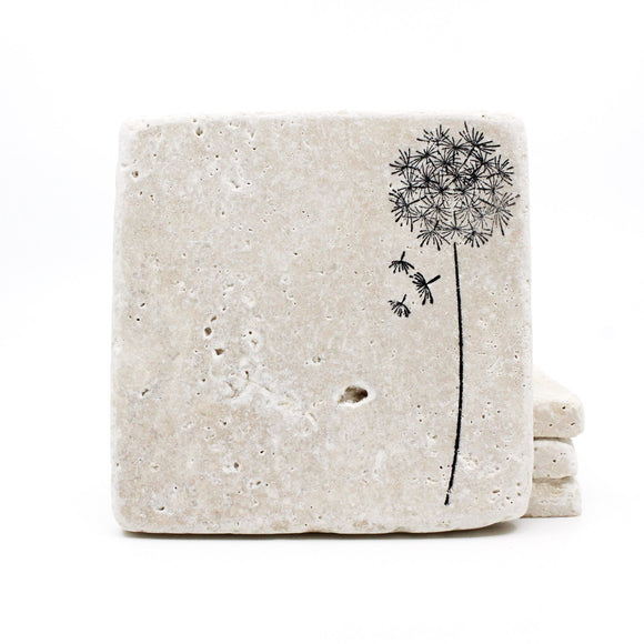 Dandelion Travertine Drink Coasters